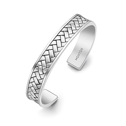 Hoxton London Men's Sterling Silver Rhodium Plated Herringbone Cuff Bangle