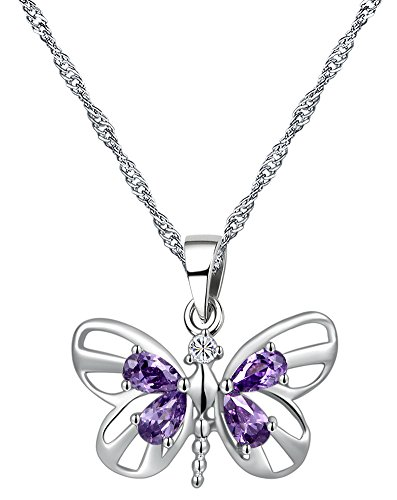 Sterling Silver Amethyst Butterfly Pendant Necklace 45CM – CN3782