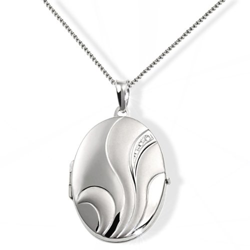 Goldmaid Women's Locket 925 Sterling Silver Necklace with Adornment