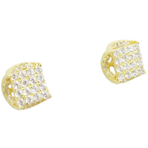 Mens .925 sterling silver Yellow round square earrings MLCZ191 4mm thick and 7mm wide
