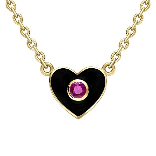 Gemfields x MUSE Holly Dyment 18ct Yellow Gold Ruby Center and Black Enamel Heart Pendant Necklace of Length 41.5-43cm