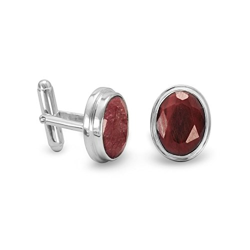 925 Sterling Silver and Rough cut Corundum Cuff Links The Faceted Oval Corundum Measure 11mm X 15mm Jewelry Gifts for…