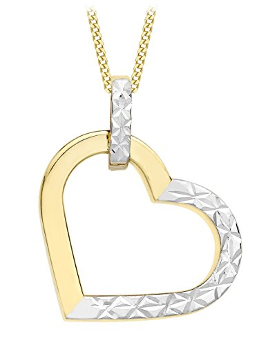 Carissima Gold 9 ct 2 Colour Gold Diamond Cut Heart Pendant on Chain Necklace of Length 46 cm/18 inch