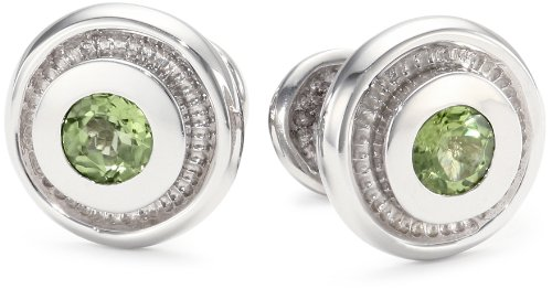 """ROTENIER """"Classic Sterling Silver Bearing with Peridot Cufflinks"""