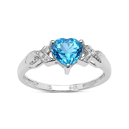 9ct White Gold 1.00Ct Heart Blue Topaz Heart & Diamond Engagement Ring Christmas Day, Valentine's Day Mother's Day Size