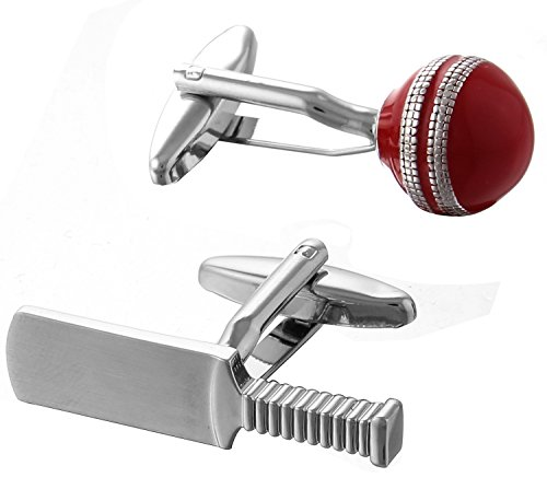 Code Red Men's Novelty Cricket Bat and Ball Rhodium Plated with Red Enamel Cufflinks