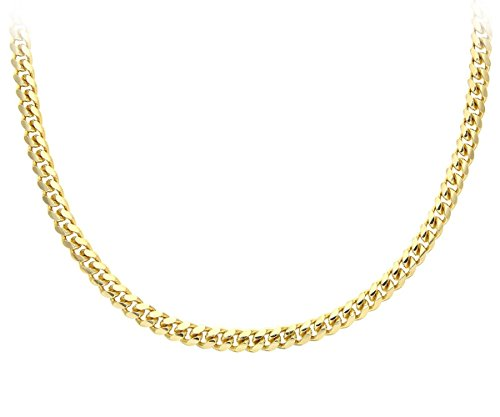 Citerna Gold Plated Silver Men's Solid Curb Chain Necklace SAC200