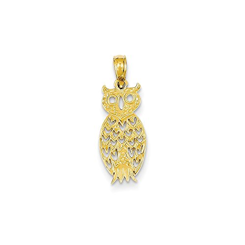 14k Yellow Gold Owl Pendant Charm Necklace Bird Fine Jewellery For Women Gifts For Her
