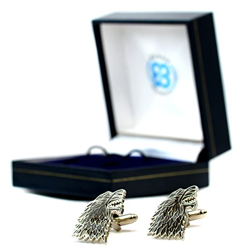 Beaux Bijoux Game of Thrones Dire Wolf House Stark Sigil Pair of Cufflinks Westeros in Gift Box