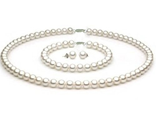 StunningBoutique Ellena Freshwater Pearls Sets White Culture Pearl Necklace 8-9 mm with 16″ 18″ 20″ Inches Difference Lengths to Choose from & Matching Stud Earring Set as a
