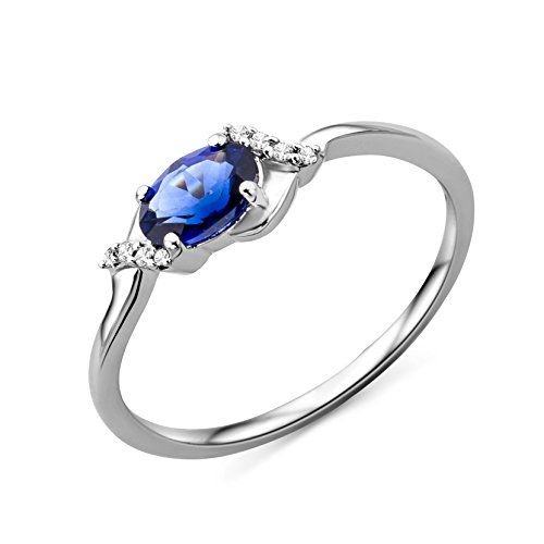 Miore Women's 9 ct White Gold Oval Sapphire Ring