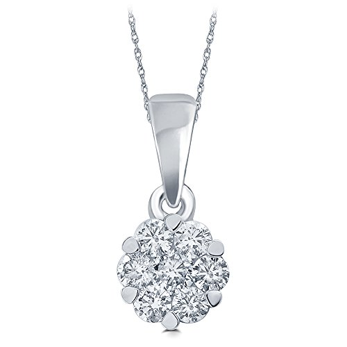 1.00 cttw Round White Diamond Cluster Pendant in 18K Yellow or White Gold. (EGL Certified)