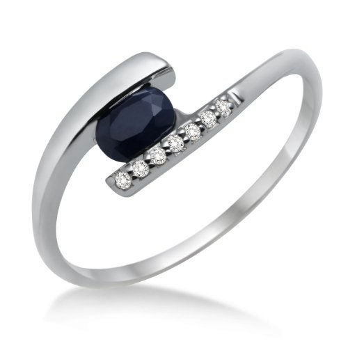 Miore MH9003R Women's Ring, 375 White Gold with Diamonds and Sapphire