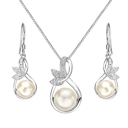 Clearine Women's 925 Sterling Silver Wedding Bridal CZ Ivory Color Freshwater Cultured Pearl Infinity Leaf Vine Pendant…
