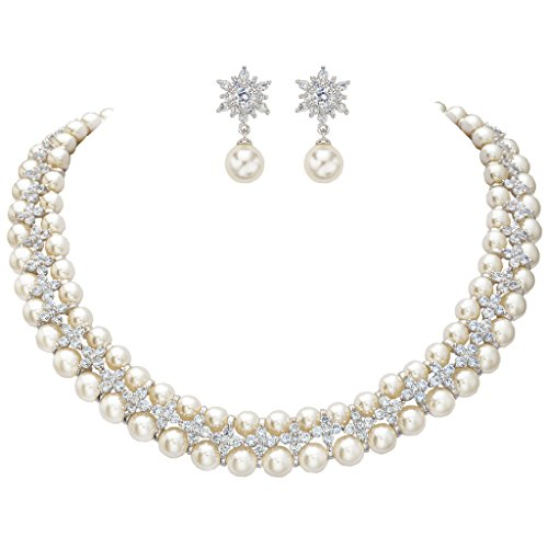 EVER FAITH Women's CZ Cream Simulated Pearl 2 Layers Floral Necklace Earrings Set Clear Silver-Tone