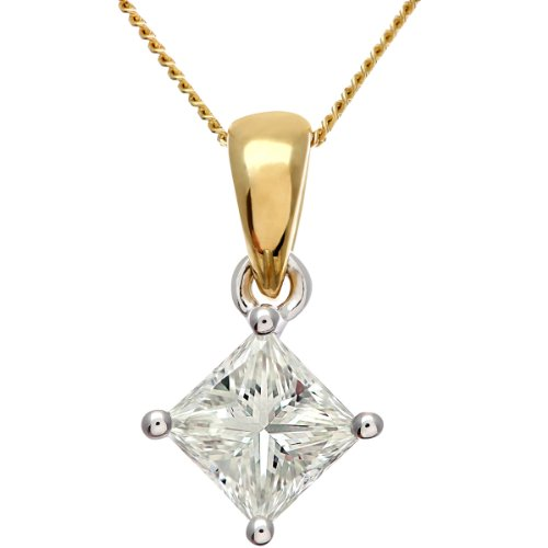 Naava Women's 18 ct Solitaire Pendant + Chain Necklace, J/I Certified Diamond, Princess Cut