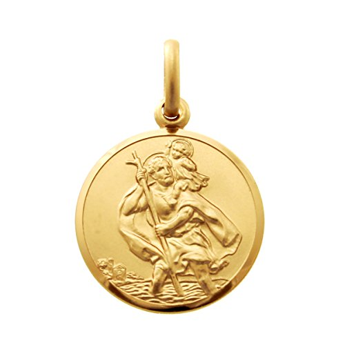 9ct Gold St Christopher Pendant Medal – 16mm – 2.6g – Includes Jewellery presentation box