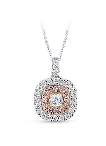 Diamond Studs Forever 14ct White & Rose Gold 1ct Total Weight Diamond Double Halo Pendant With Chain GH/I1 IGI USA…