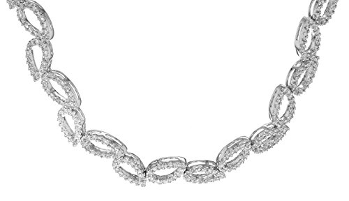Carissima Gold Women's 18 ct White Gold 1.87 ct Diamond Leaf Linked Necklet of Length 43 cm/17 Inch