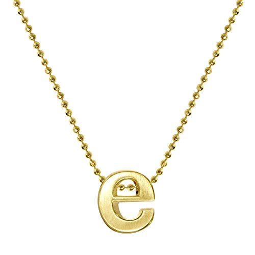 "Alex Woo Women's""Little Letter"" 14ct Yellow Gold E Pendant Necklace of 40cm"
