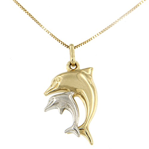 Lucchetta for Women – 14 ct White and Yellow Gold Two Dolphins Family Father Mother Son Daughter Pendant on Chain…