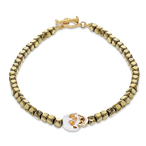 LUIS MORAIS 14ct Yellow Gold Side Skull with Moving Jaw Cord And Beaded Bracelet with Skull Outline Clasp