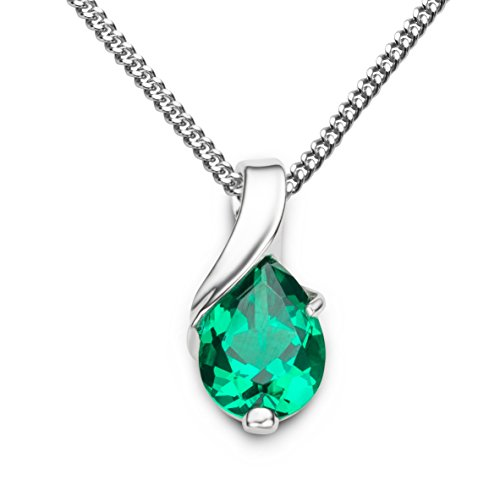 Miore necklace for women in 9 kt 375 white/yellow gold with pear shape gem pendant