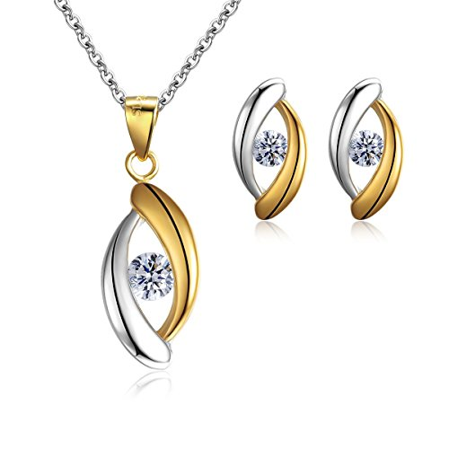 Sreema London New 2-Tone Pendant Necklace + Matching Stud Earrings Jewellery Set for Women- Made with Solid Silver…