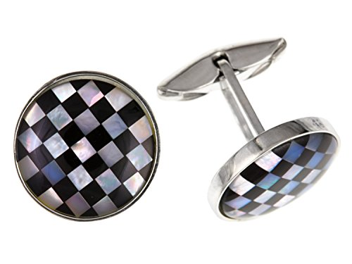 Onyx & Mother of Pearl Round Cufflinks – 925 Sterling Silver – Solid Silver