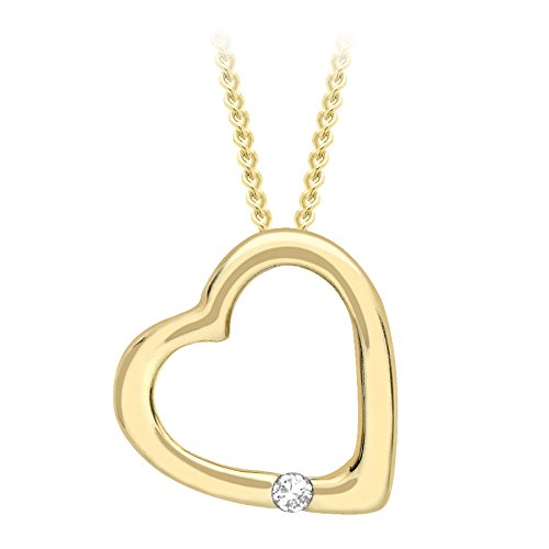 Carissima Gold 9 ct Yellow Gold Diamond Open Heart Pendant on Adjustable Curb Chain Necklace