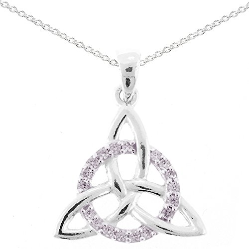 Silver Celtic Trinity Cubic Zirconia Circle of Life Pendant and Chain Gift Boxed