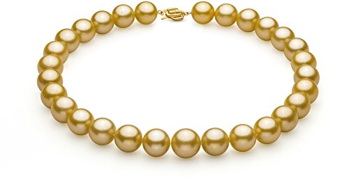 Gold 14-15.7mm AAA+ Quality South Sea 14K Yellow Gold Cultured Pearl Necklace-18 cm
