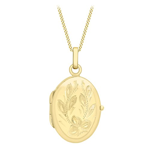 Carissima Gold Women's 9 ct Yellow Gold Large Oval Flower Locket Pendant on Curb Chain Necklace 41 cm