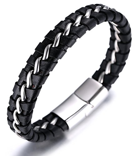 Halukakah ● Solo ● Men's Genuine Leather Titanium Bracelet Black & Silver 8.46″(21.5cm) with Free Giftbox