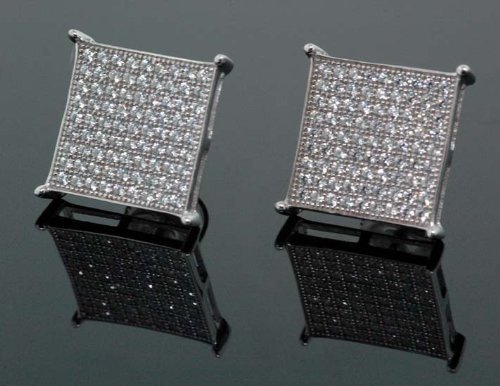 IcedTime .925 Sterling Silver White Square White Crystal Micro Pave Unisex Mens Stud Earrings