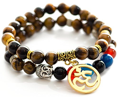 Gems of Peace – Tiger Eye Beaded Om Buddha Protection Bead Bracelet w/ Flax Pouch & Lucky Red String Beaded Bracelets…