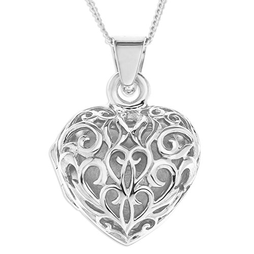 Ornami Ladies Silver Filigree Heart Locket with 46 cm Curb Sterling Silver Chain