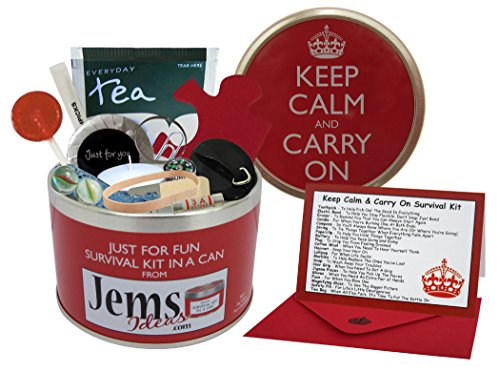 Keep Calm & Carry On Survival Kit In A Can. Humorous Fun Gift For A Birthday Christmas Retirement Good Luck New Job…