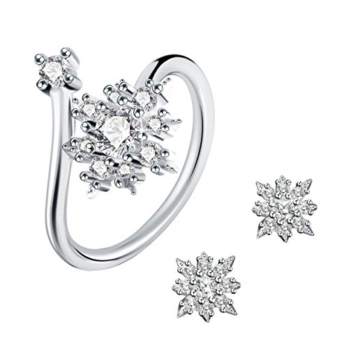 J.Rosée 925 Sterling Silver 3A Cubic Zirconia Snowflake Jewellery Set Earrings and Resizable Ring for lady like Elsa in…