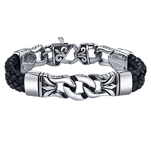 COOLMAN Stainless Steel and Leather Bracelet Black & Silver Cuff Bracelet Wristband for Men 23 cm
