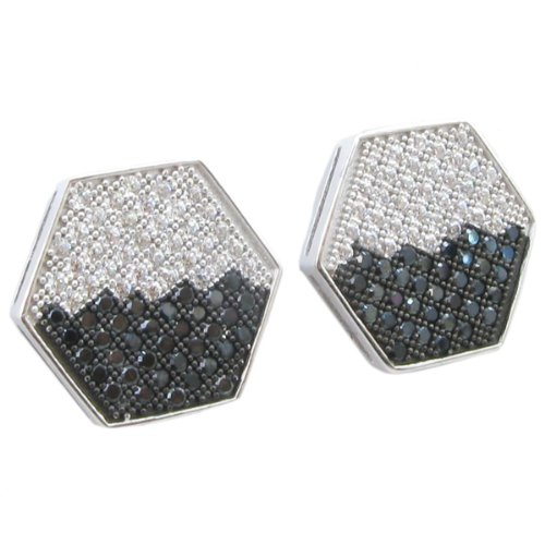 Mens .925 sterling silver White and black hexagon earring 2 MLCZ223 3mm thick and 14mm wide