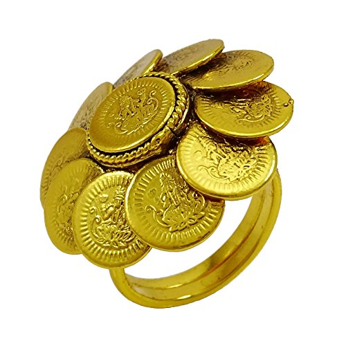 Banithani Goldplated Traditional Ginni Coin Adjustable Ring Wedding Jewellery Gift for Her