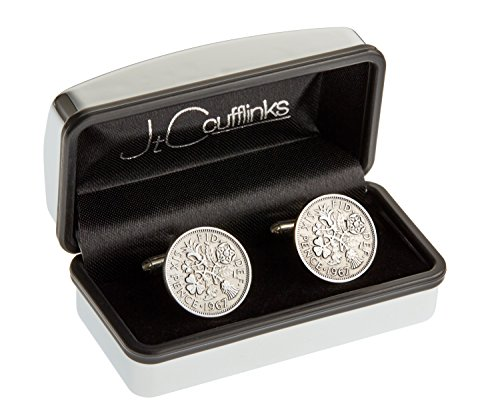 MENS 50TH BIRTHDAY GIFT COIN CUFFLINKS IN CHROME BOX