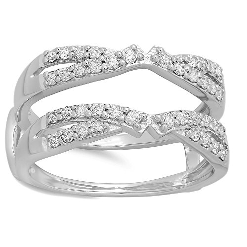 A Very Nice 14k White Gold Plated Cubic Zirconia Diamond Wedding Band Ring Enhancer
