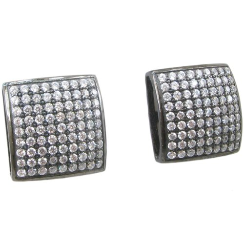 Mens .925 sterling silver White and black 9 row square earring MLCZ106 5mm thick and 11mm wide
