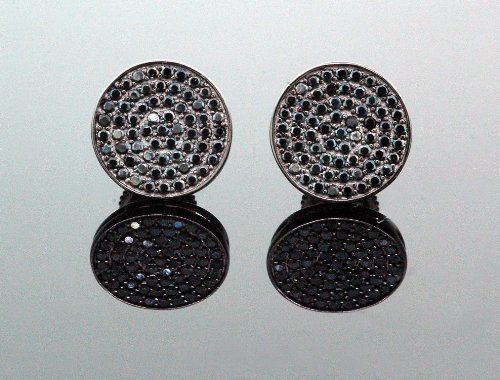 IcedTime .925 Sterling Silver Black Circle Black Onyx Crystal Micro Pave Unisex Mens Stud Earrings 8mm
