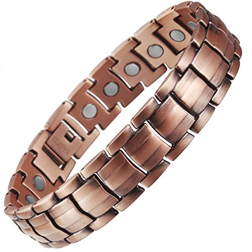 VITEROU Mens Magnetic Pure Copper Therapy Bracelet with High Powered Healing Magnets Pain Relief for Arthritis,3500…