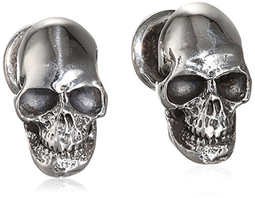 King Baby Men's 925 Sterling Silver Skull Ball Post Cufflinks