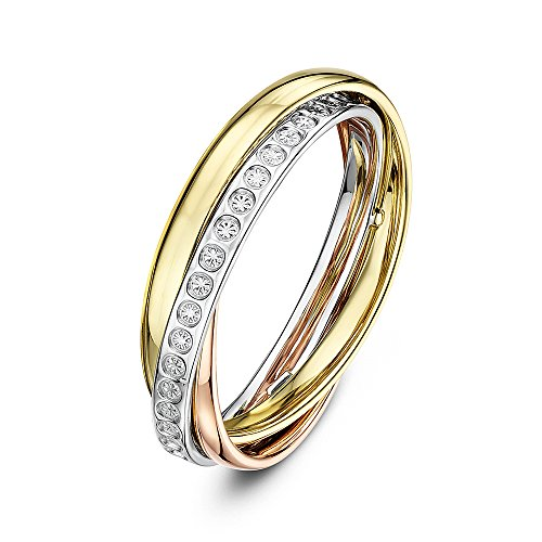 Theia 9ct Rose, White and Yellow Gold Diamond Design 4mm Russian Wedding Ring