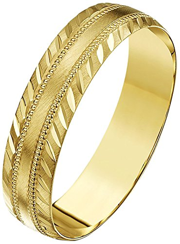 Theia Men or Women 9 ct Gold Heavy Weight, Millgrain Centre and Diagonal Design Edge, D-Shape Wedding Ring